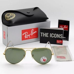 Ray-Ban RB3025 Aviator POLARIZED Lens Gold New